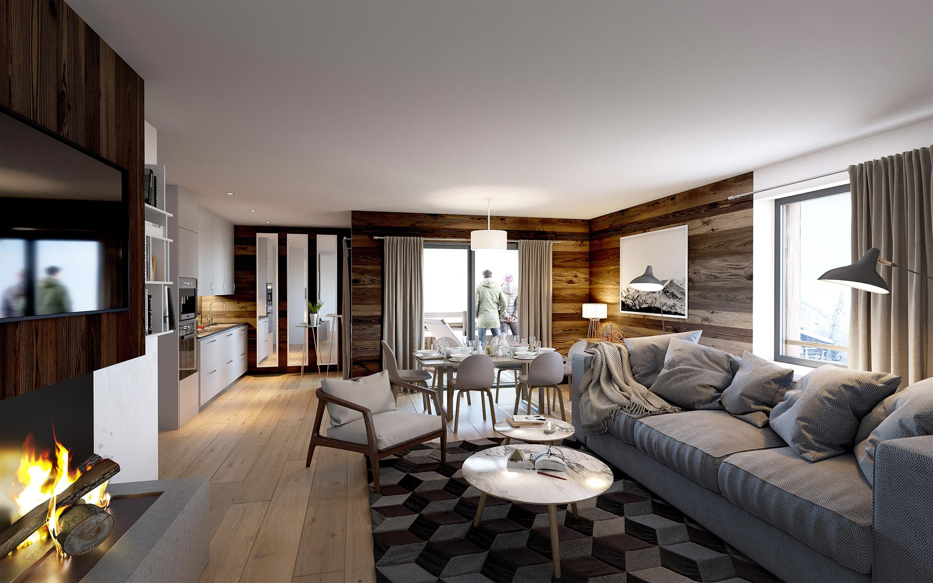 3D visualization of a highend apartment in Chamonix