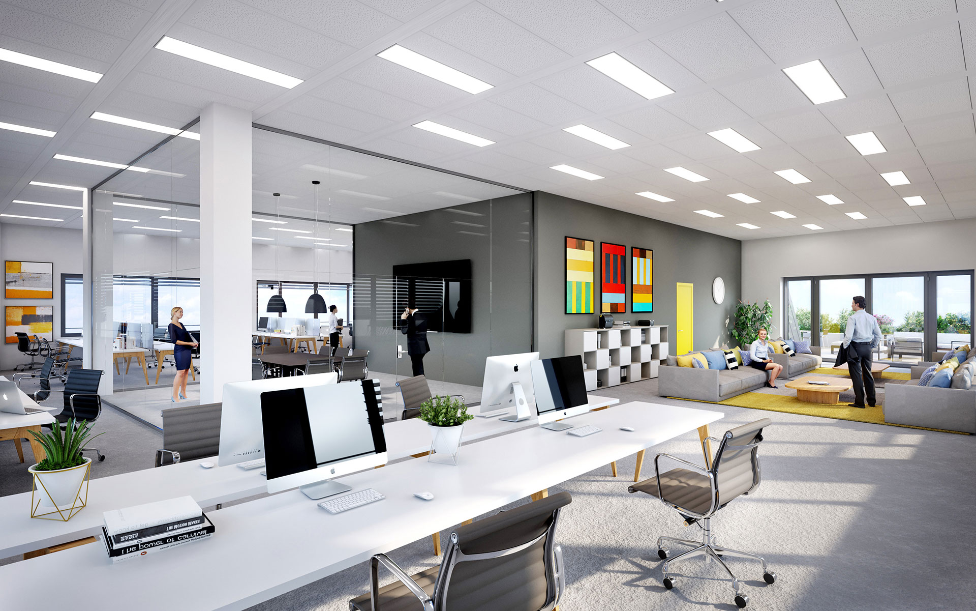 3D visualization of a new modern open space office