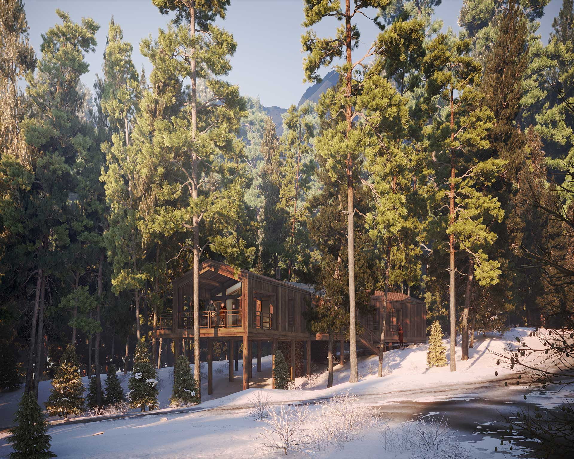 3D visualization of a cabin insertion in a forest landscape