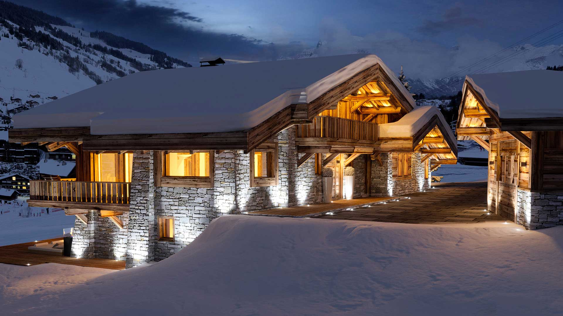 3D Rendering of a view of a chalet in the mountains at night made from computer generated images.