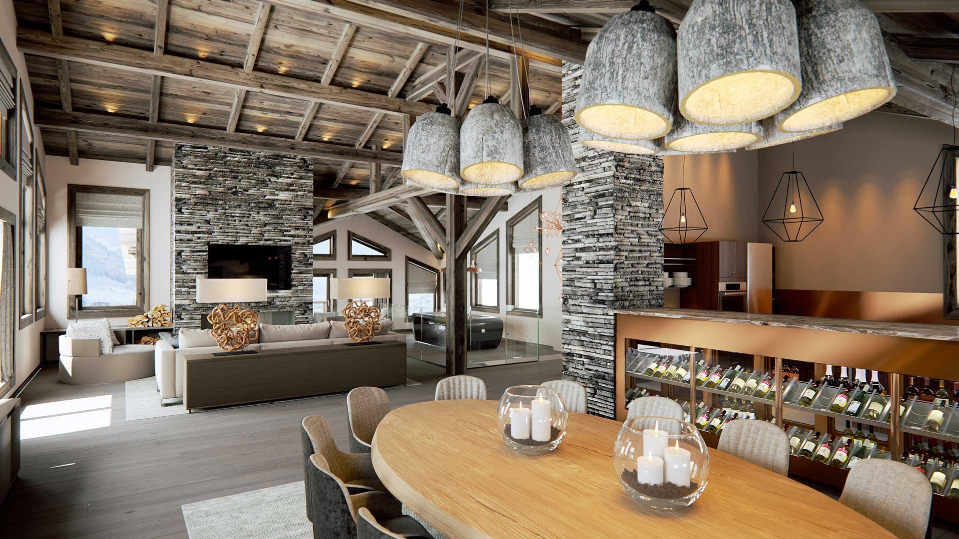 Salle de repas de luxe d'un chalet à la montagne en image de synthèse 3D d'architecte