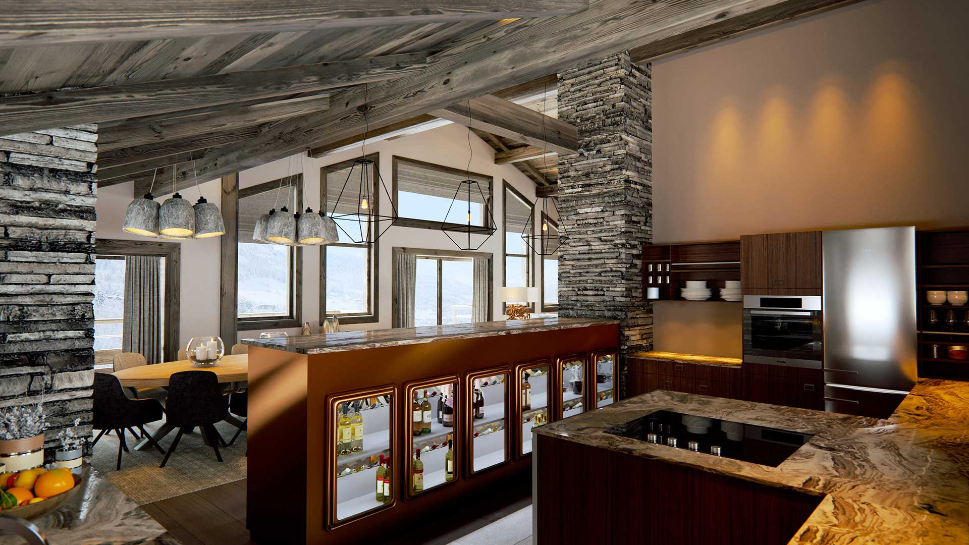 3D Rendering of a real estate project of a dinning room in a luxurious chalet.