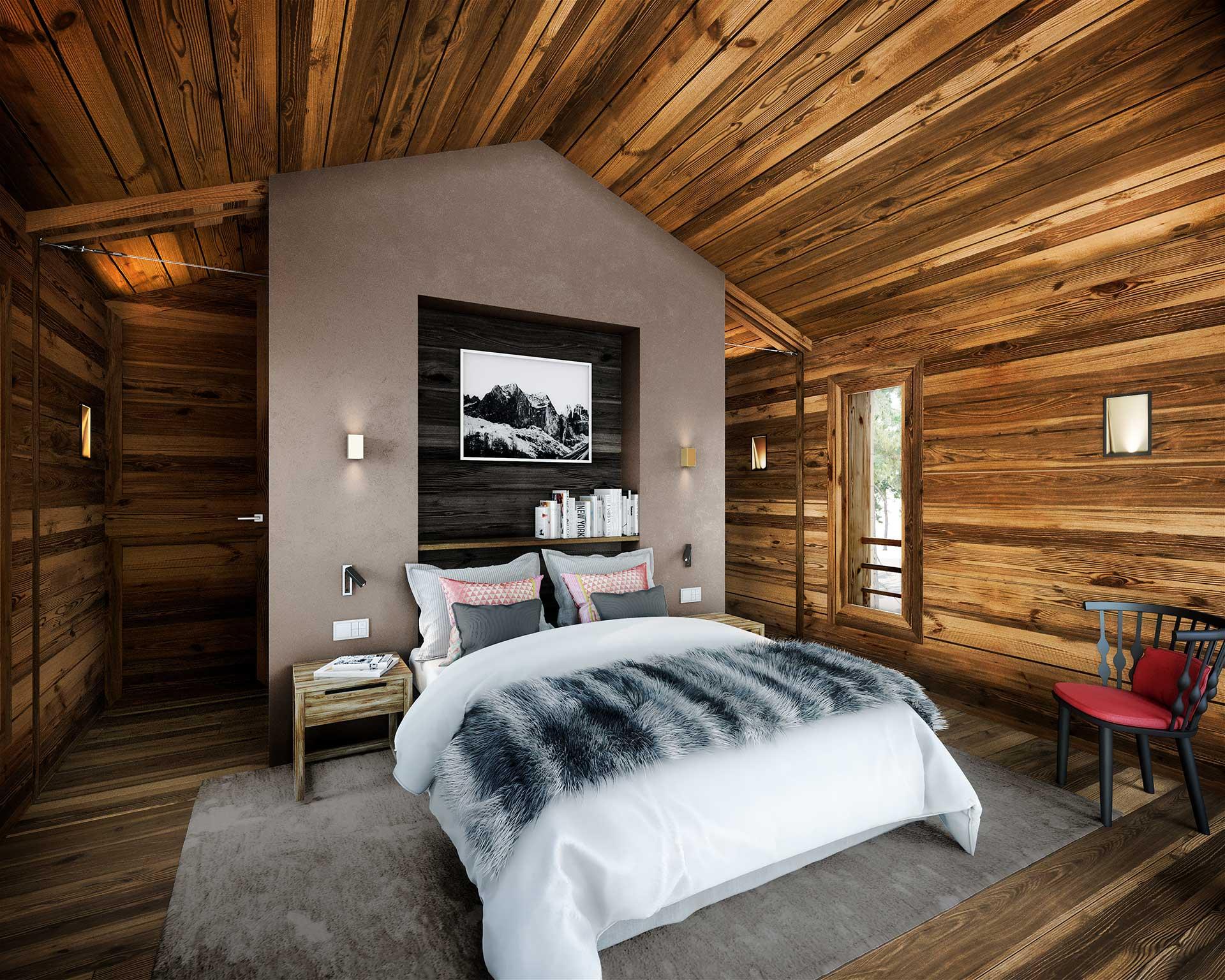 3D computer generated image - Highend cabin bedroom