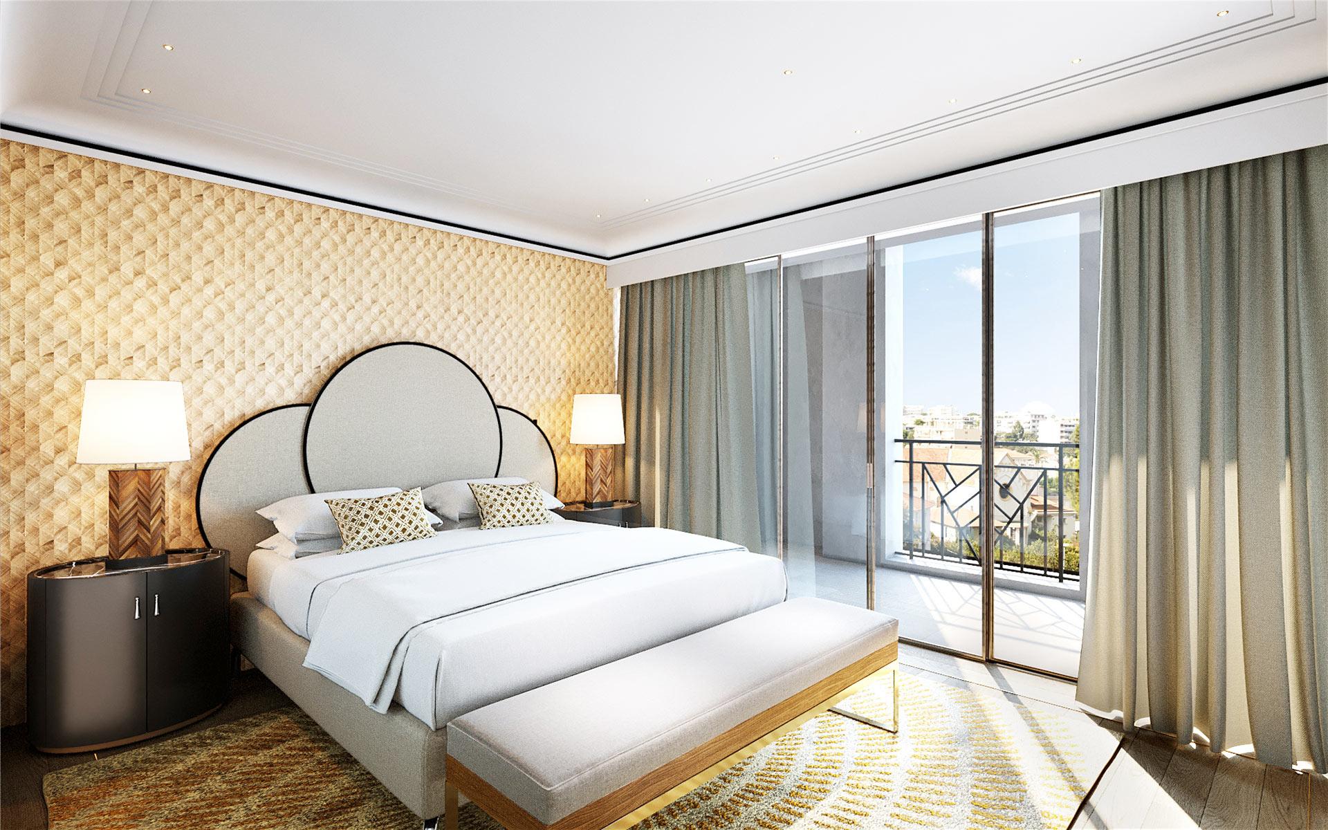 3D render of a luxury bedroom