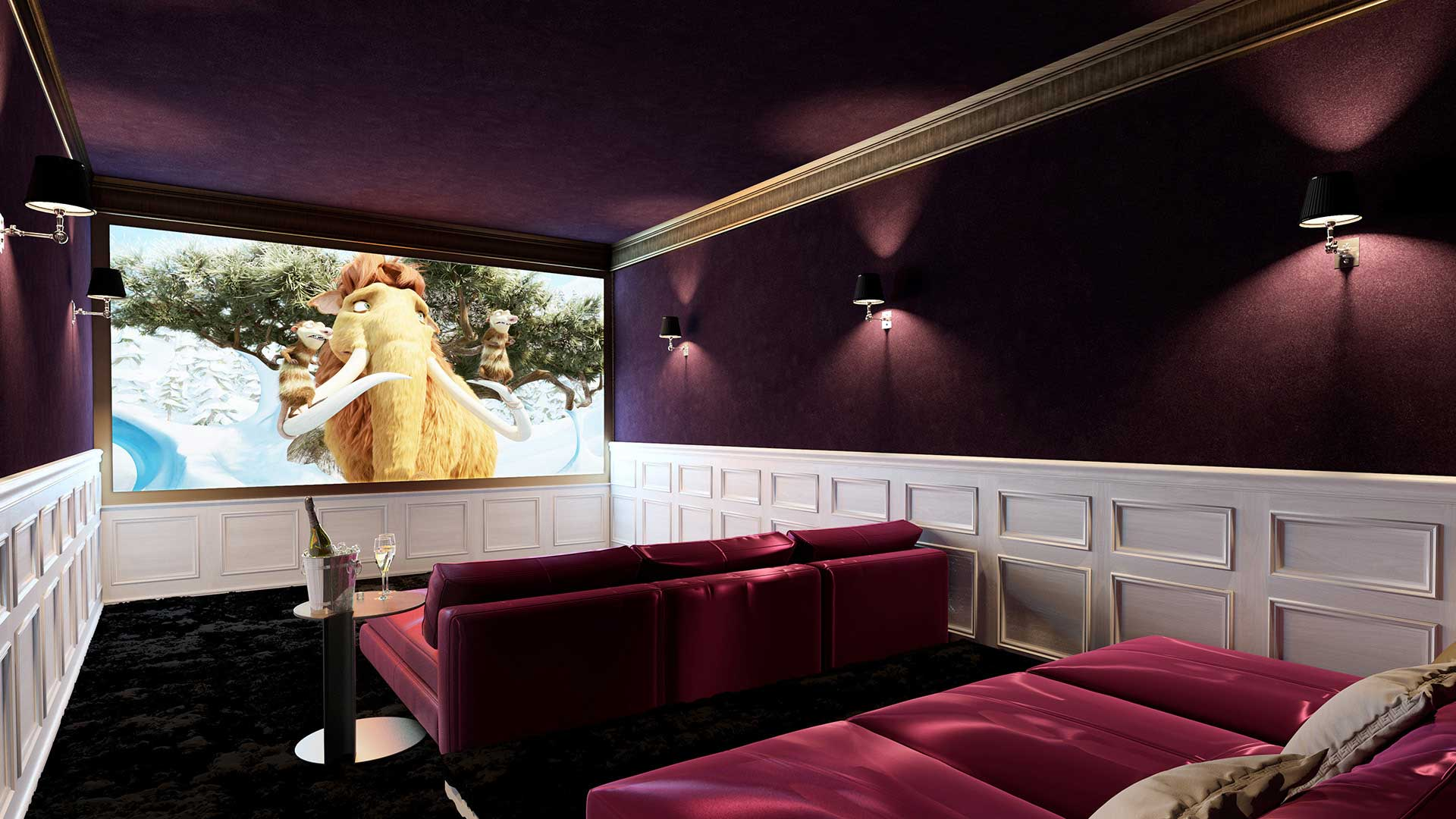 Vue 3D, perspective en image de synthèse d'une salle de cinéma personnelle dans une villa de luxe.