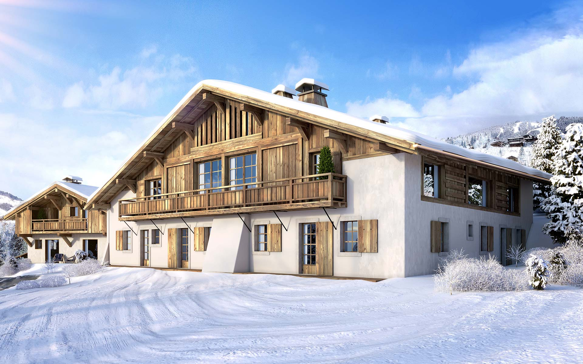 3D visual of the exterior of a chalet in Megève