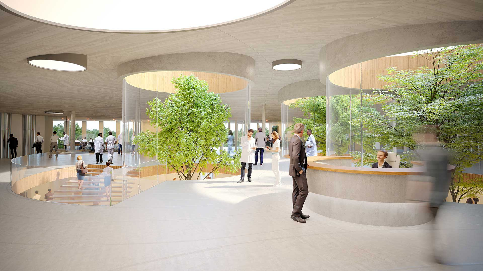 Création d'une perspective en image de synthèse d'un hall pour un concours 3D.
