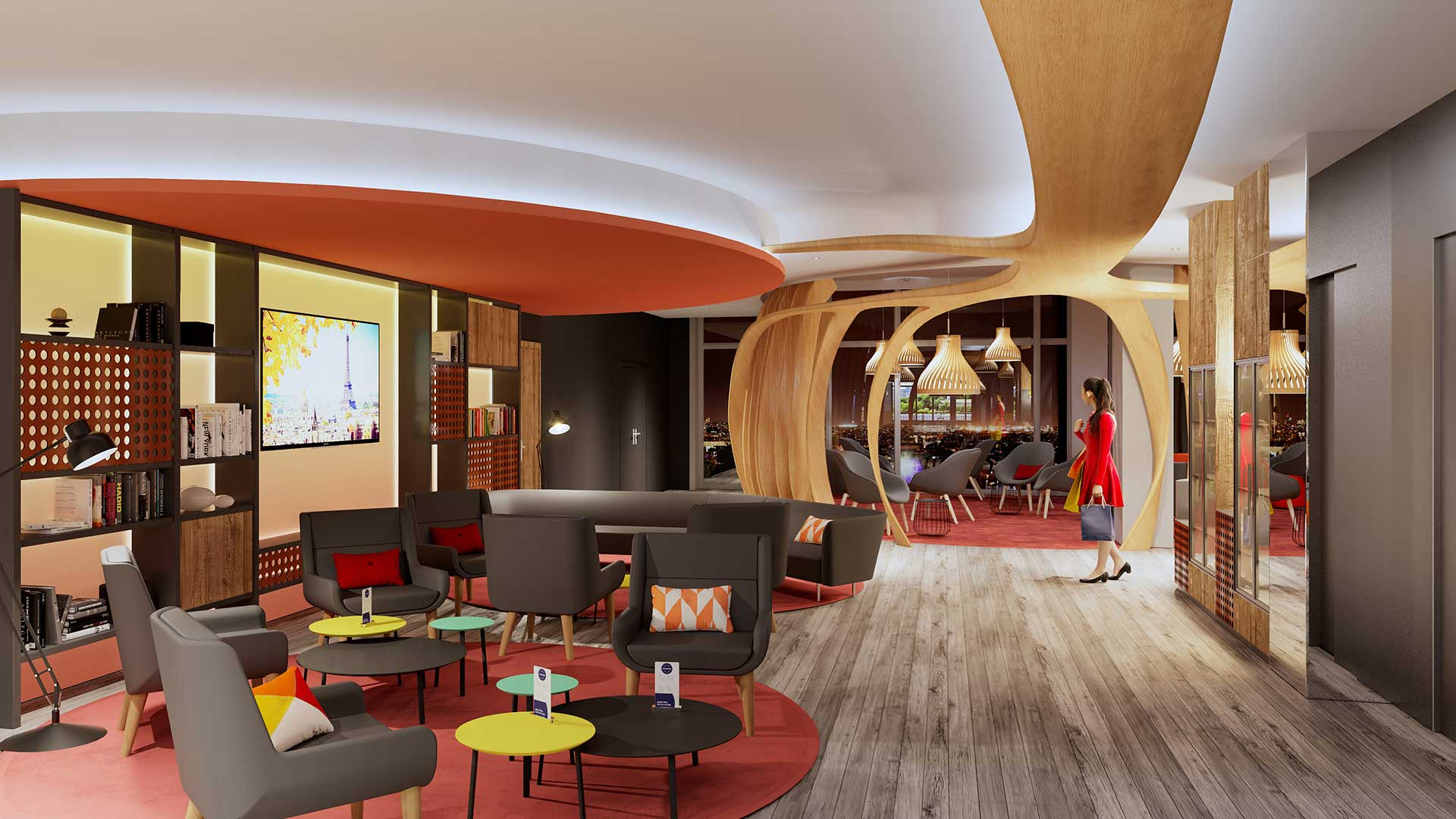 Our digital 3D creative studio produces your renderings of a 3D lounge.