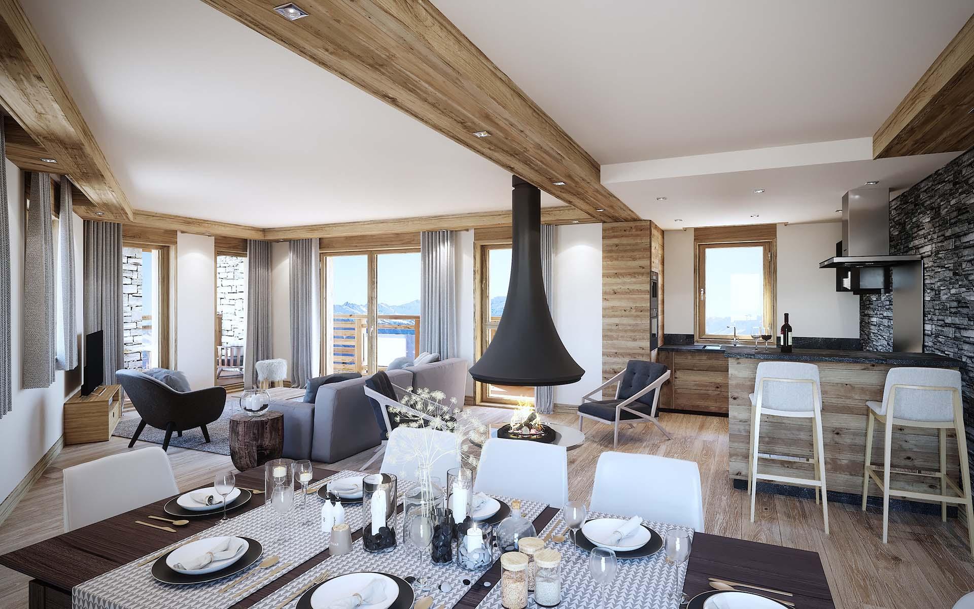 3D architect studio : creation 3D photo of a luxurious apartment.