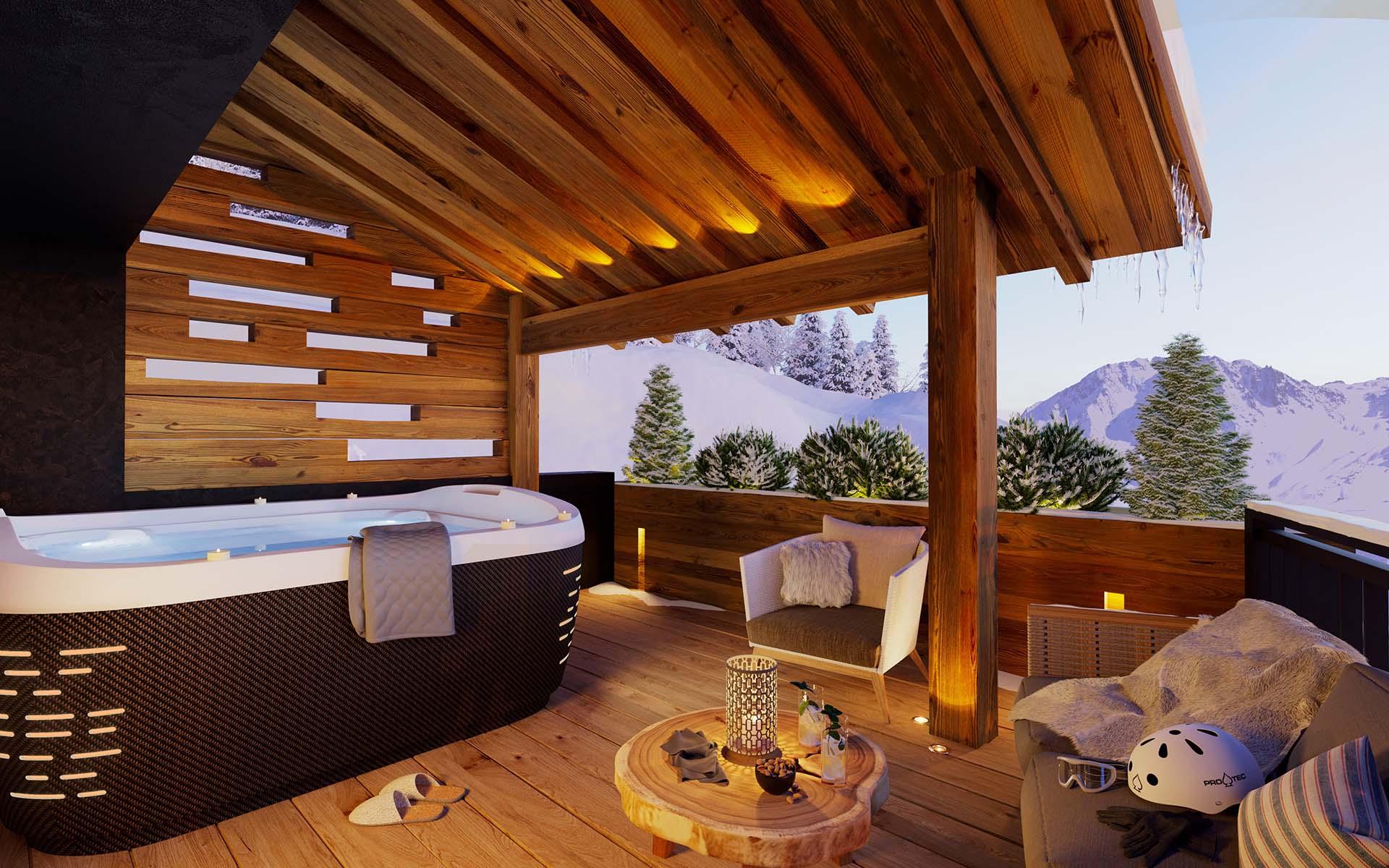 Rendu 3D d'une perspective de terrasse d'un chalet de luxe par nos infographistes 3D spécialisés en immobilier.