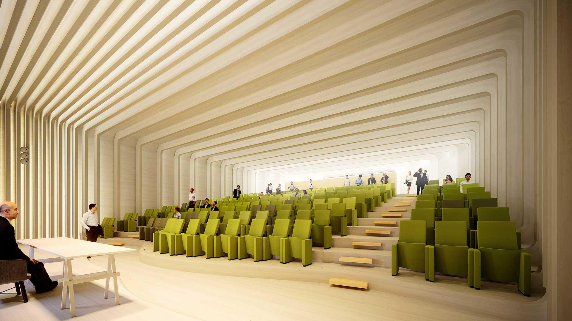 Perspective 3D d'un auditorium pour un concours d'infographie 3D.