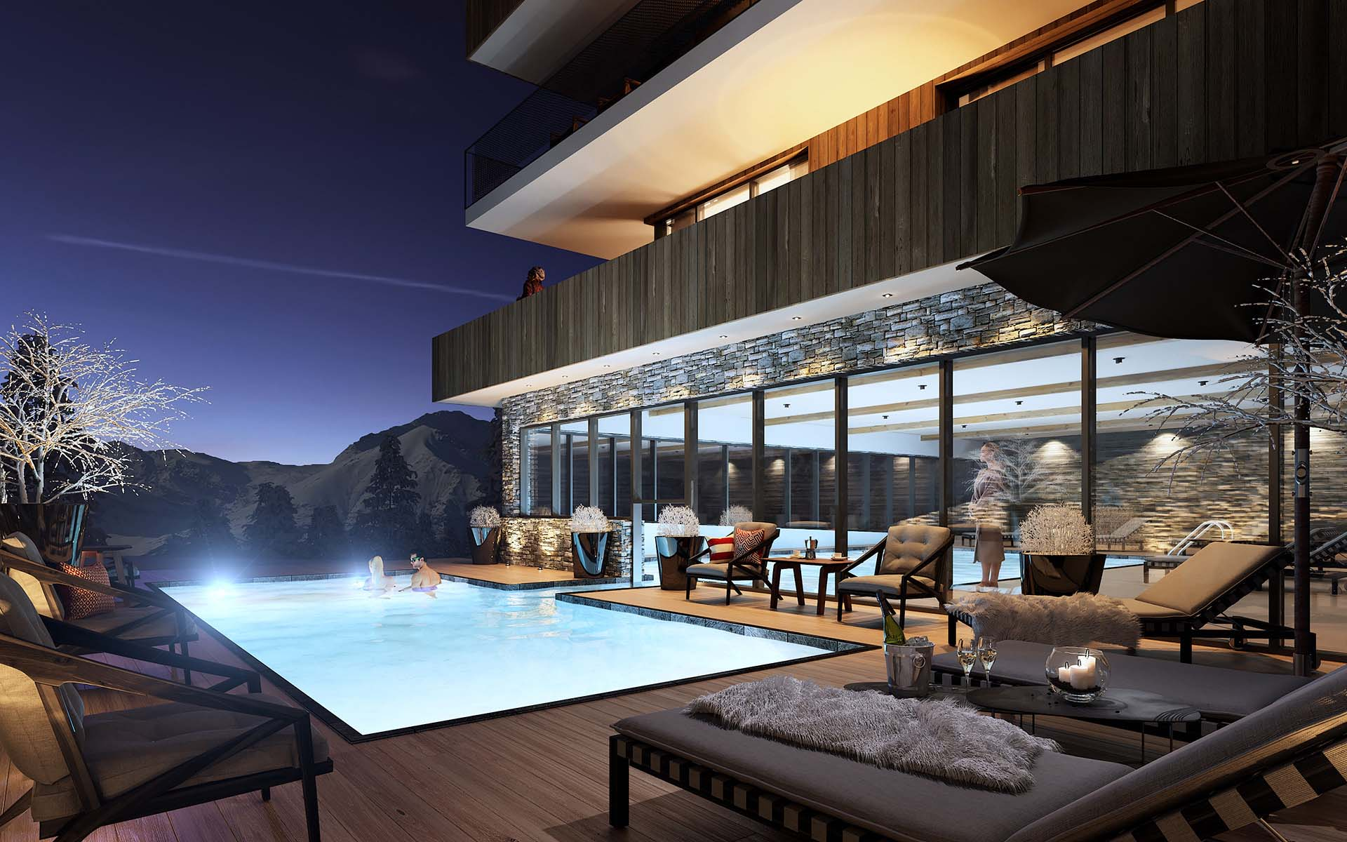 3D Perspective of a luxurious swimming pool created by a 3D marketing agency.