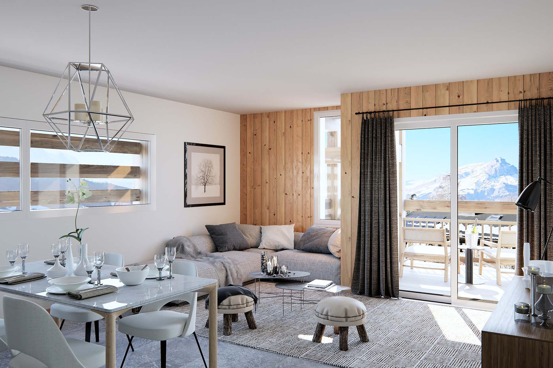 3D Architects Studio, creation of a 3D perspective of the living room of a luxurious apartment.