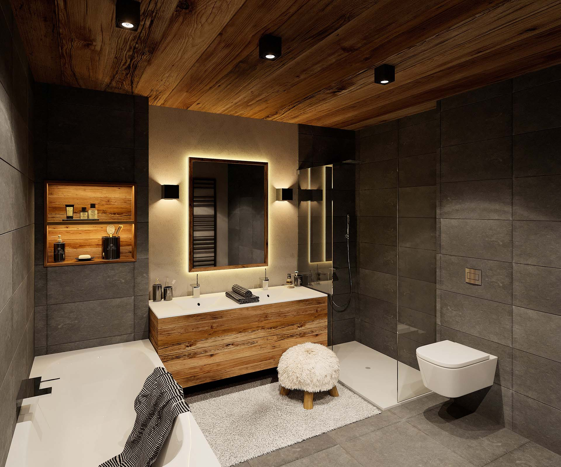 Creation of a 3D perspective of a bathroom for real estate promotion.
