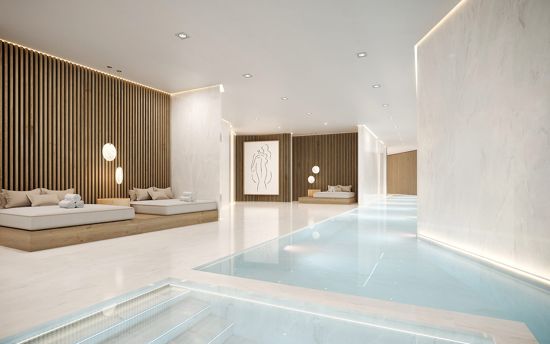 3D perspective of a luxurious chalet pool