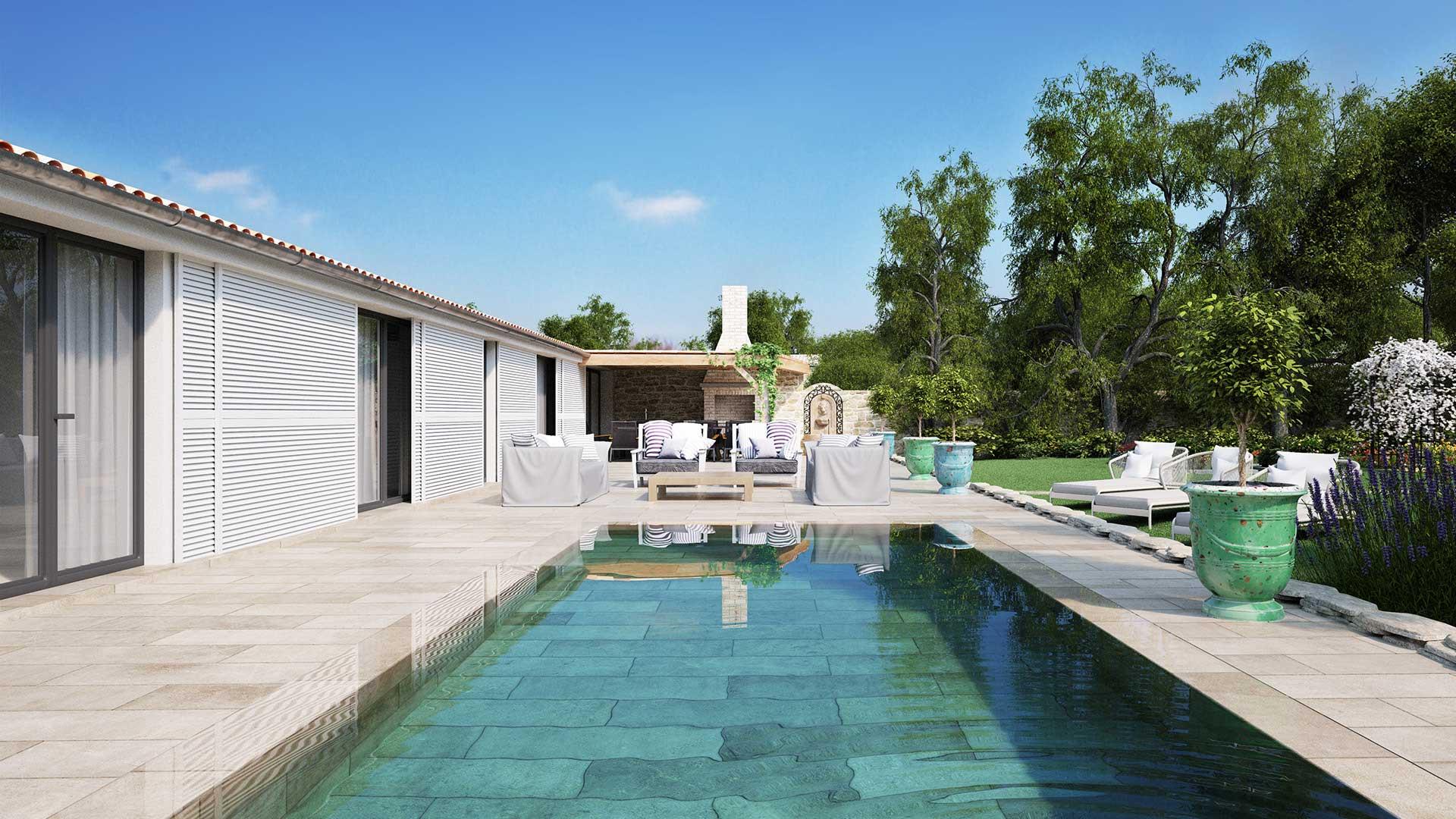 Vue en perspective 3D d'une piscine de luxe à l'Île-de-Ré.