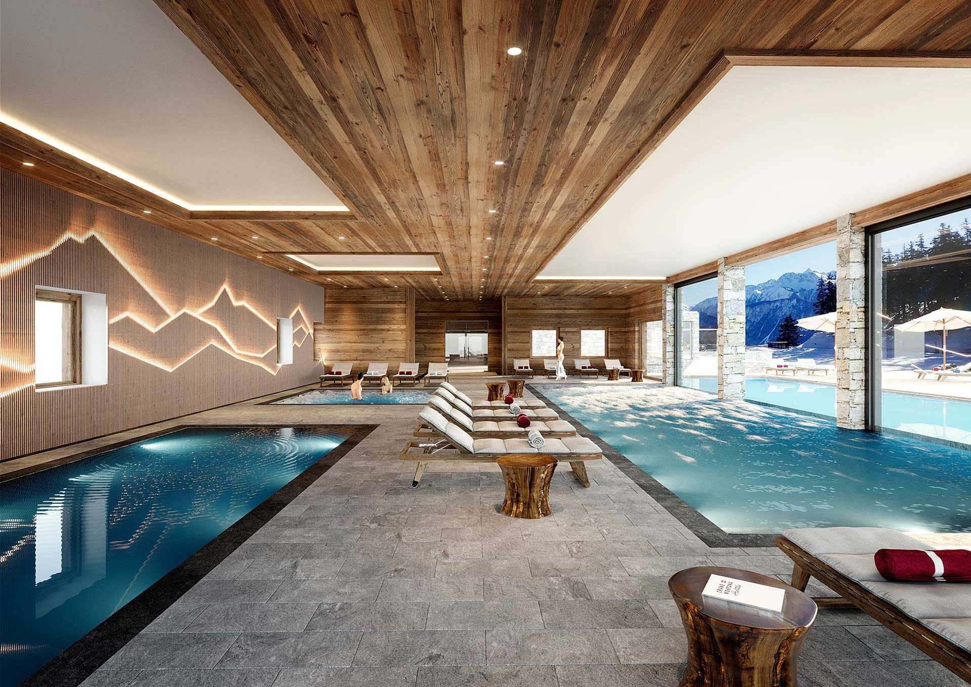 Render of a 3D hotel pool for a hotel-chalet project