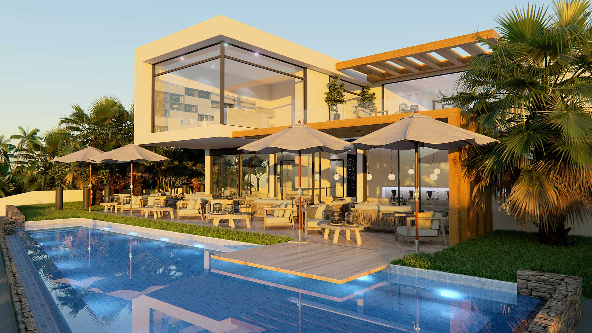 Real estate promotion of a Hotel in Marbella. Computer generated image, 3D Graphics design
