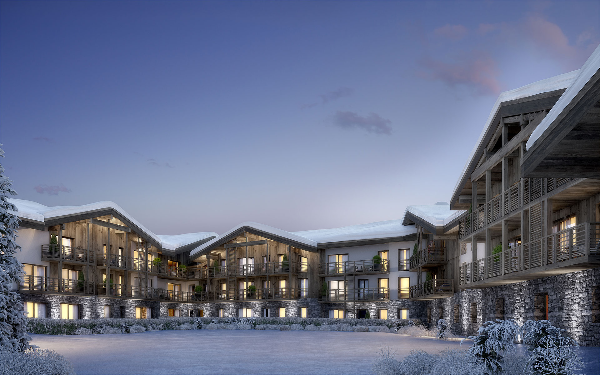 3D Exterior visualization of a resort chalet village in the Alps