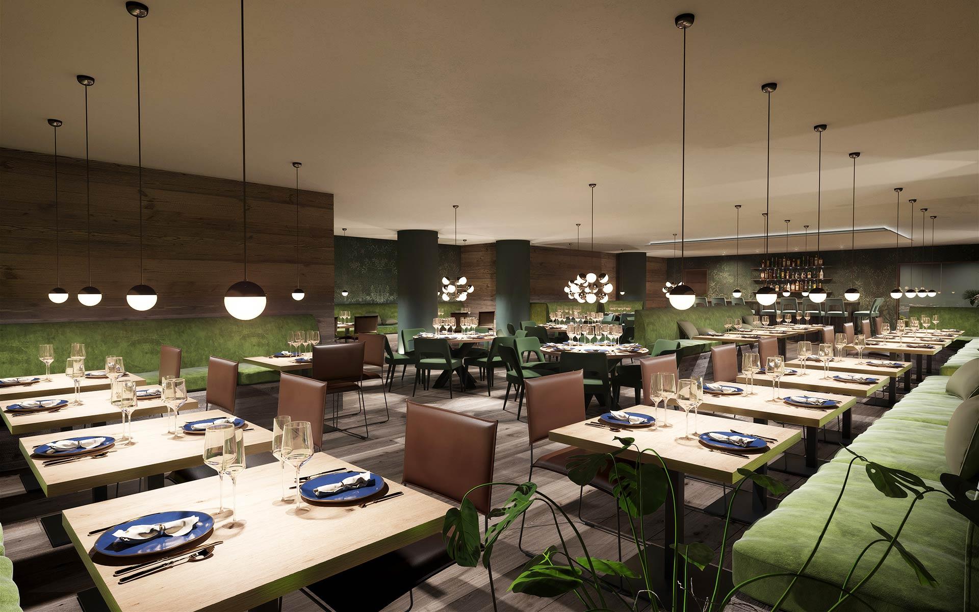 Image 3D d'un restaurant dans un hôtel à Méribel