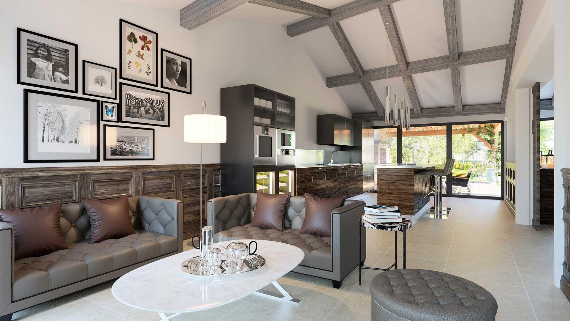 3D Photo for the living room of this luxurious villa in Île-de-Ré.