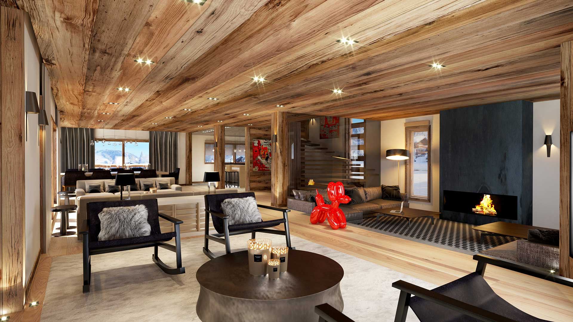3D Rendering of a living room of a luxurious chalet in Chamonix.