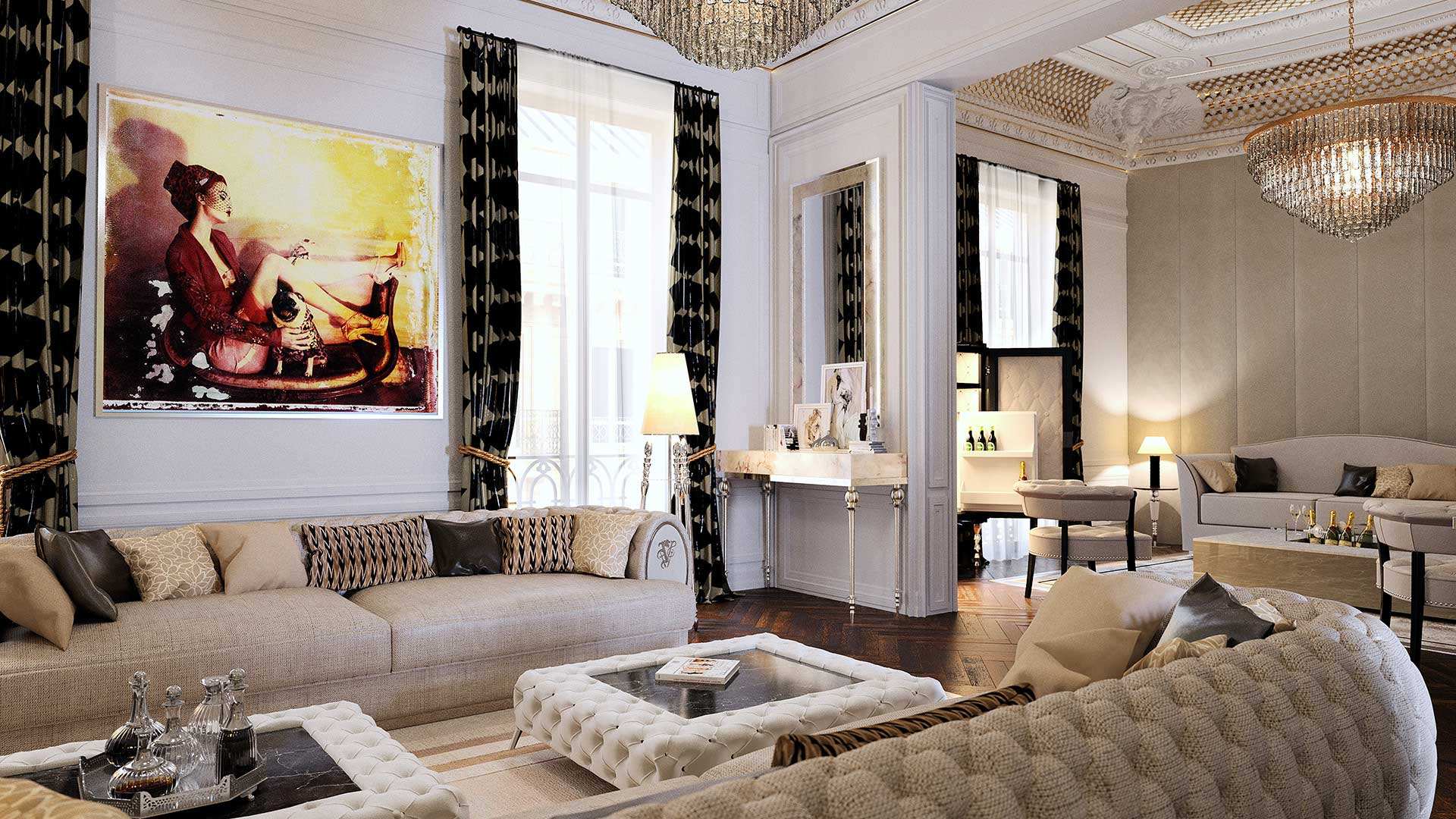3D Rendering of a luxurious living room Haussmann created by 3D agency in Lyon.