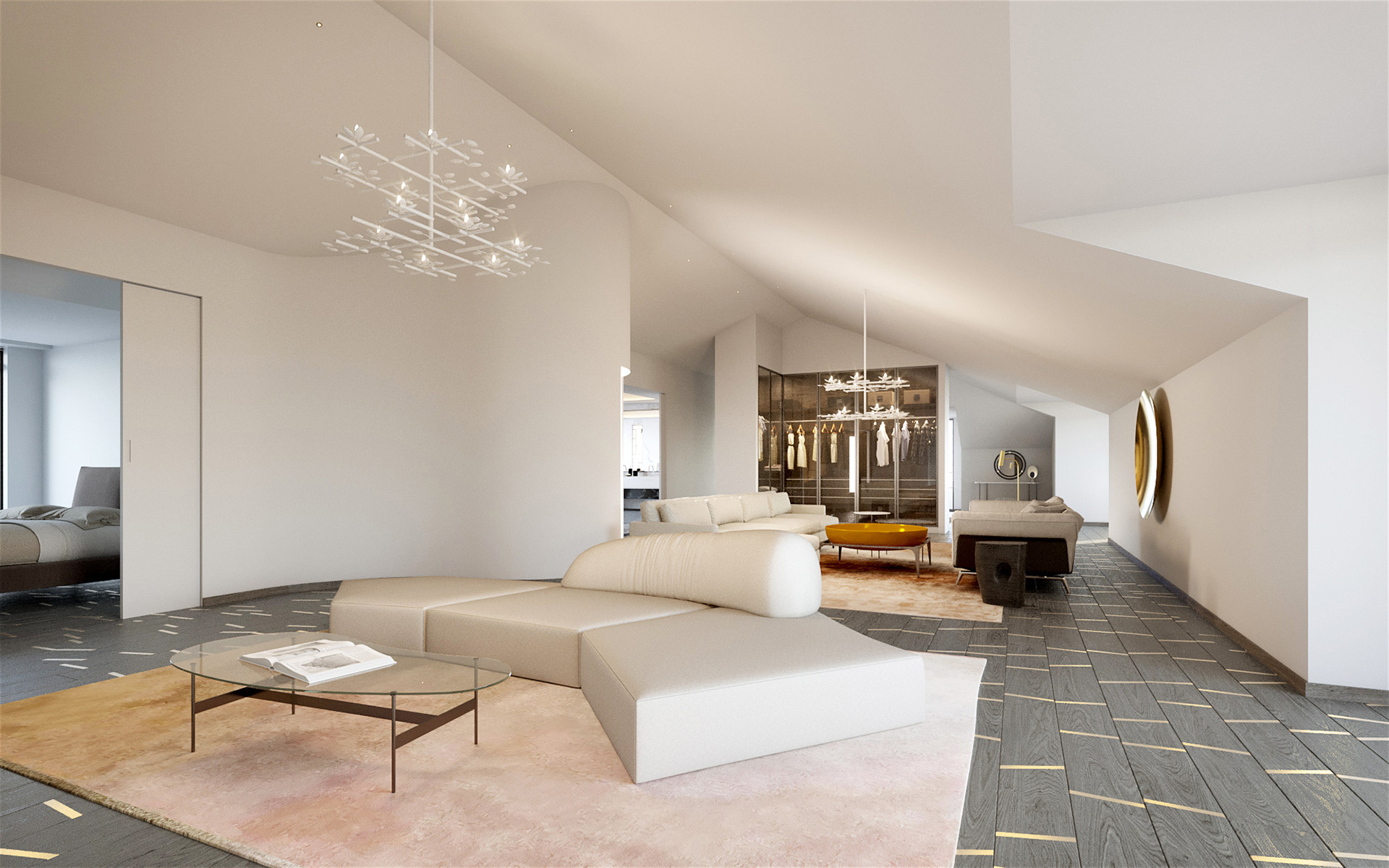 3D perspective of the interior of a villa in Cannes