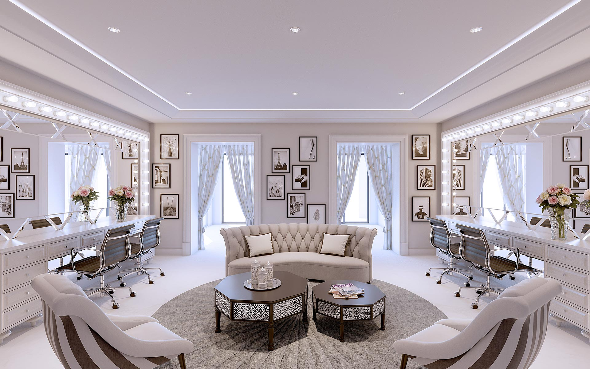 3D Visualization of a hairdresser in a luxury villa