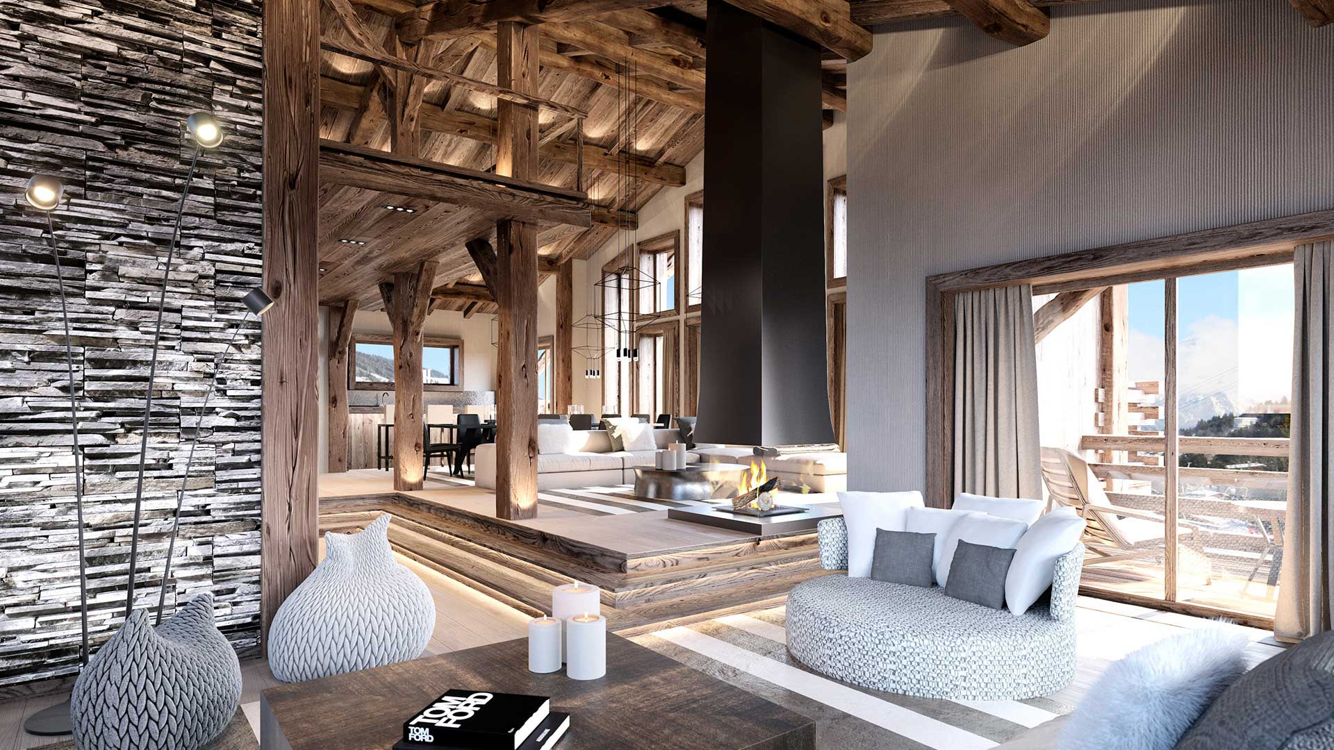 3D Rendering of an architectural project of the living room of a chalet in the mountains.