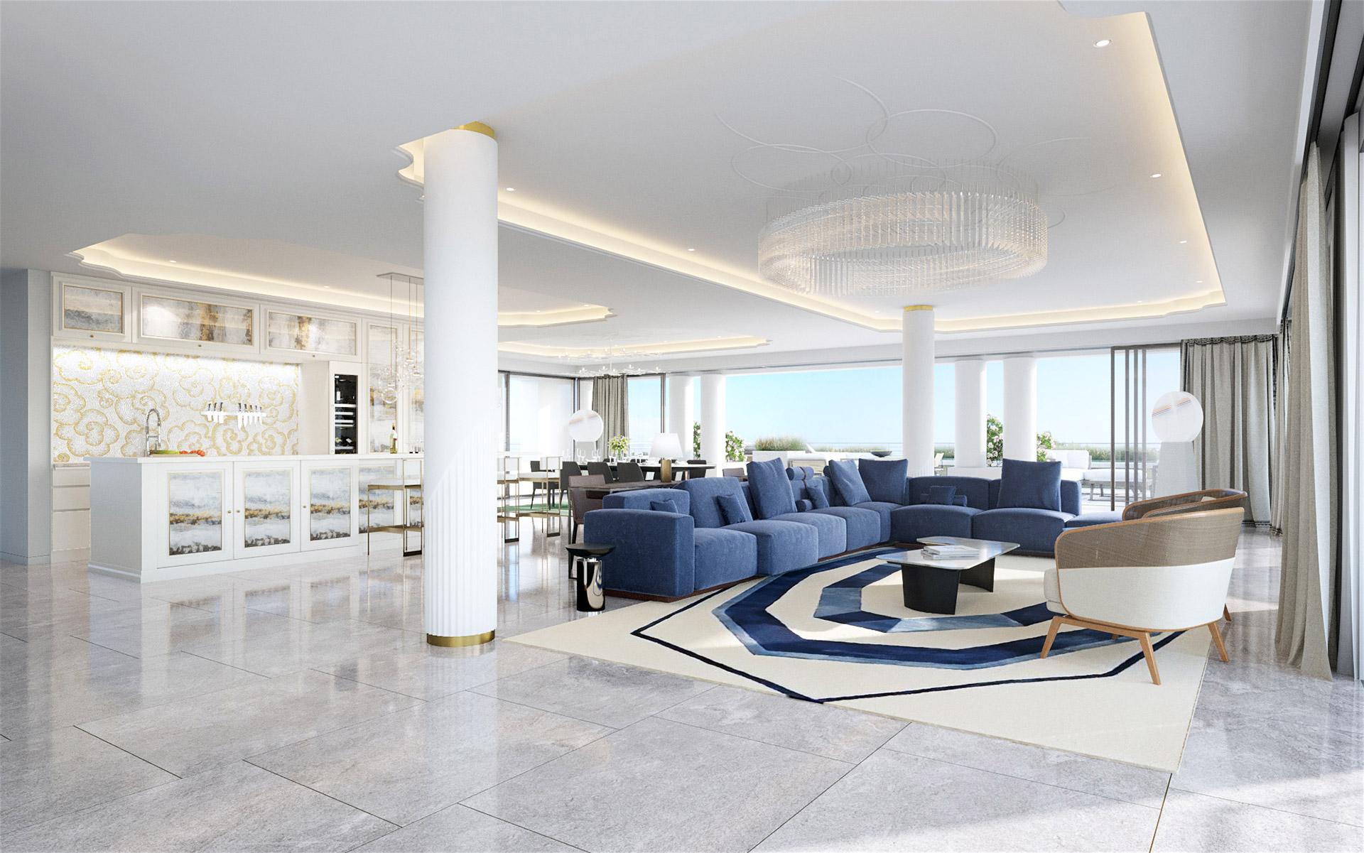 3D visualization of a living-room  in a prestigious villa in Nice