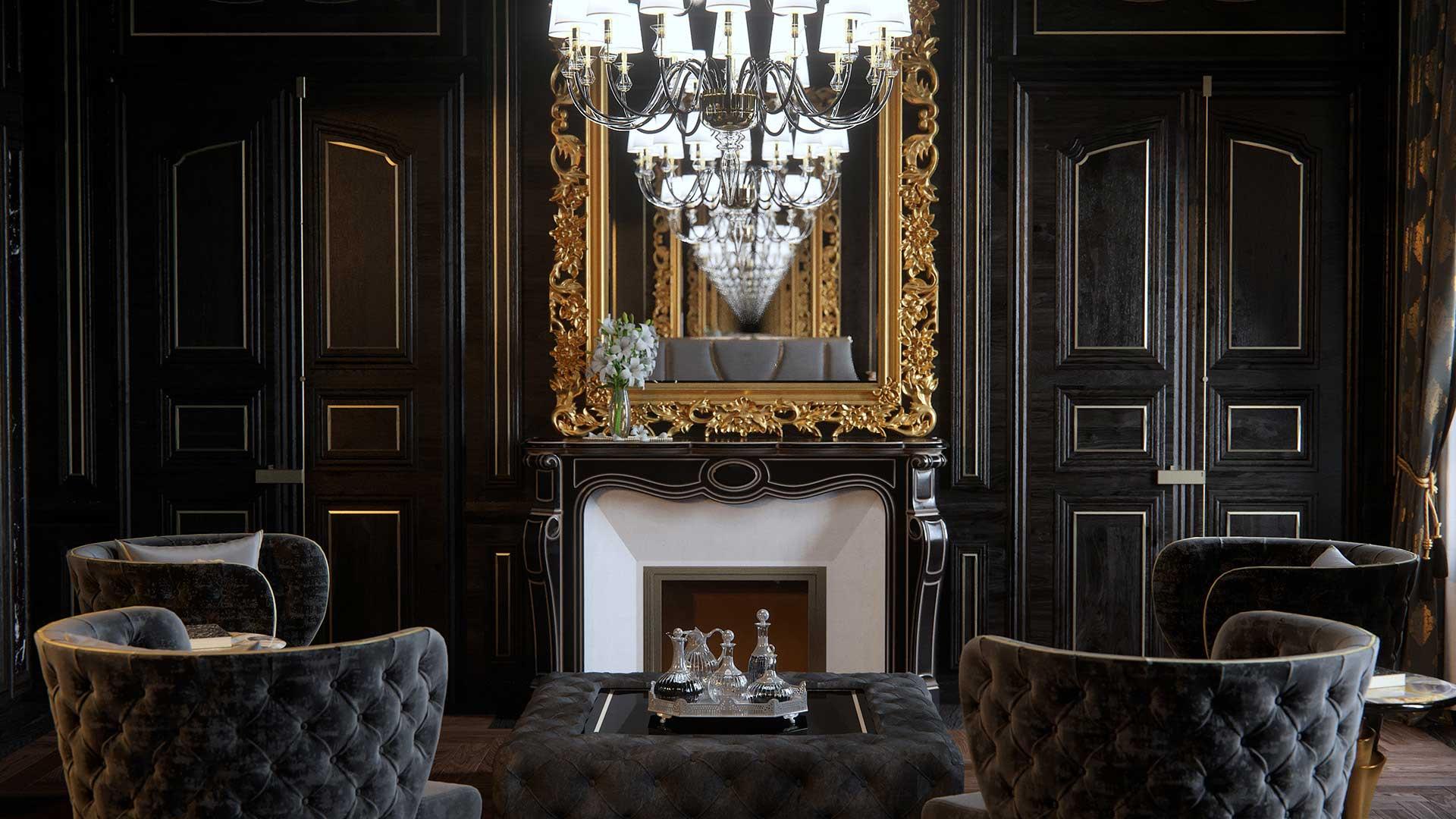 Perspective en image de synthèse 3D d'un salon de villa de luxe.