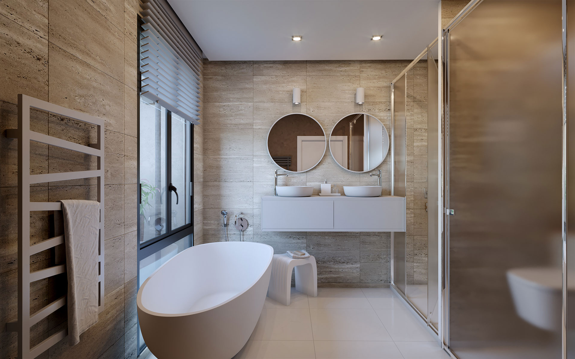 3D Visualization of a bathroom in a highend housing