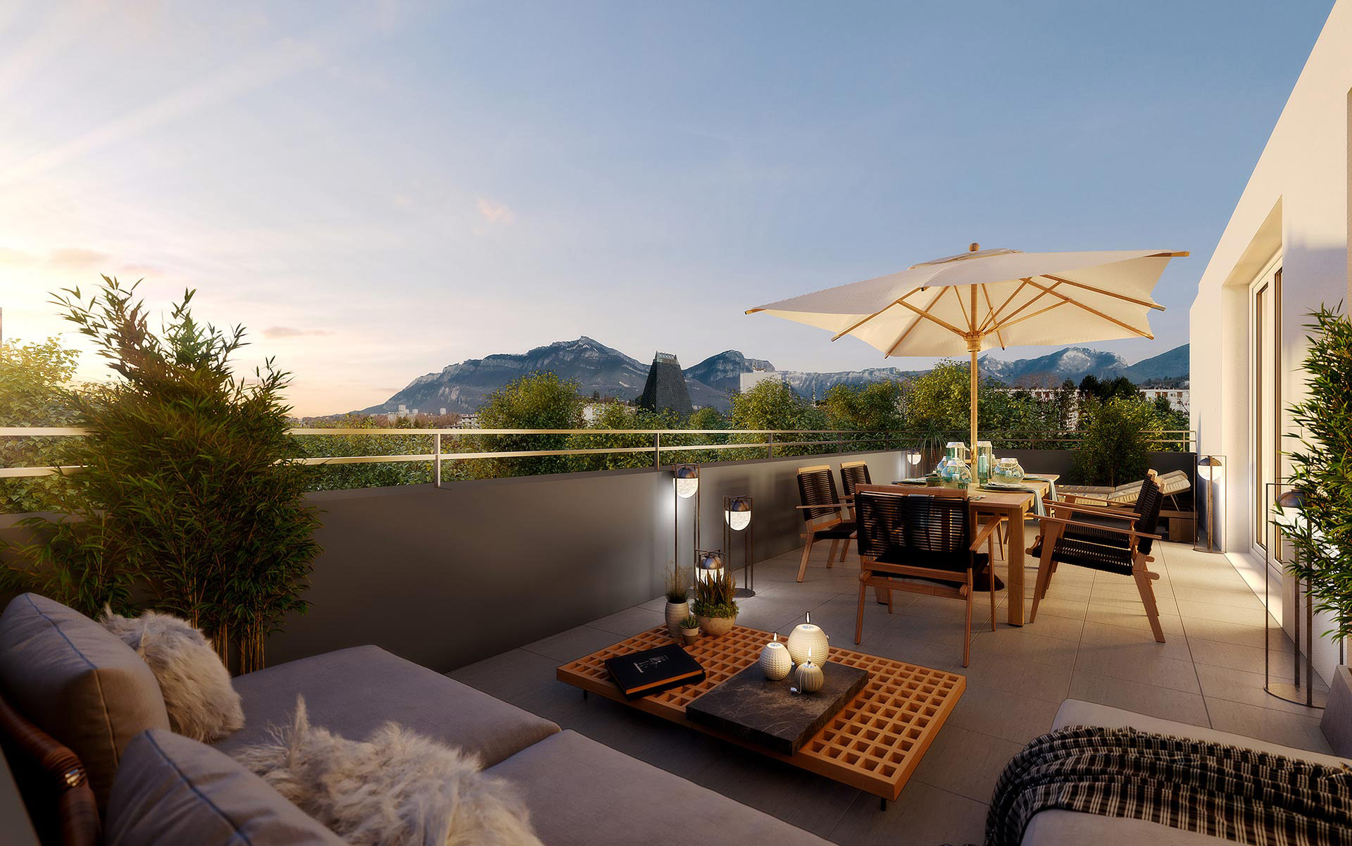 3D terrace visualization in a sunset mood for real estate development - Valentinstudio