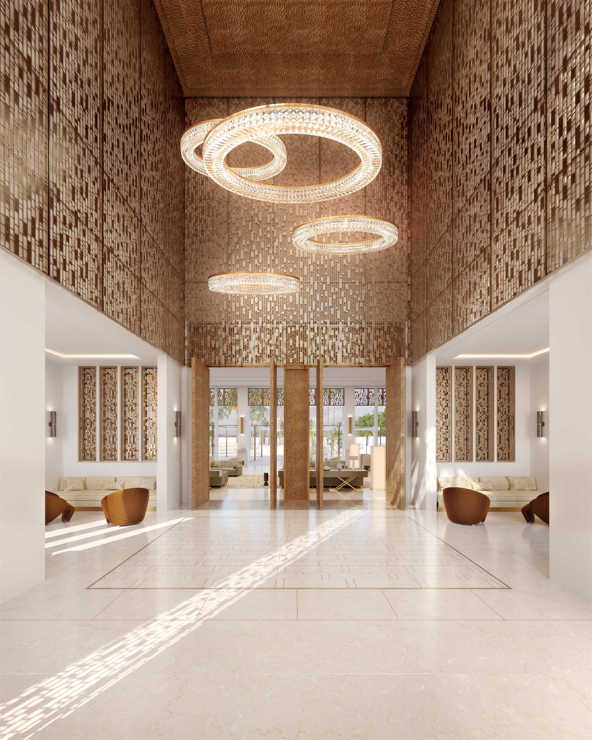 3D render of a luxurious hall in a villa