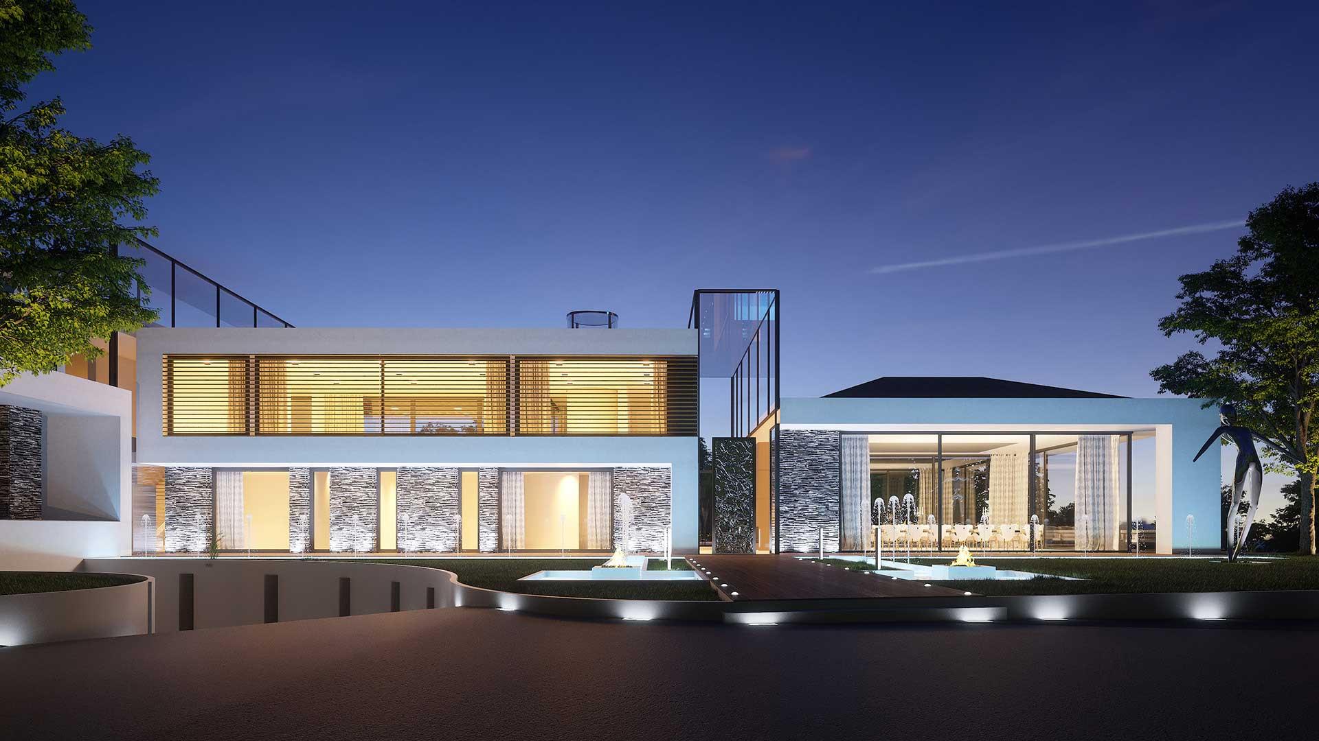 Rendu 3D photo réaliste d'une villa de luxe.