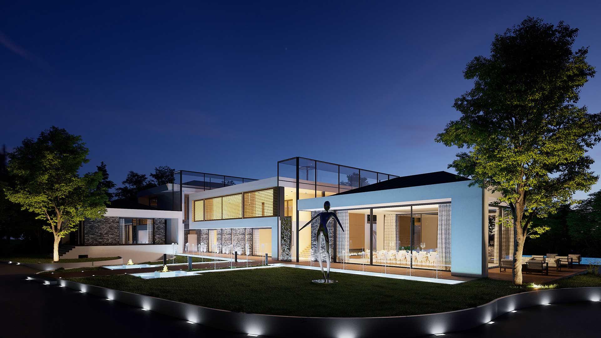 Création image perspective 3D Villa de luxe à Cologny en Suisse