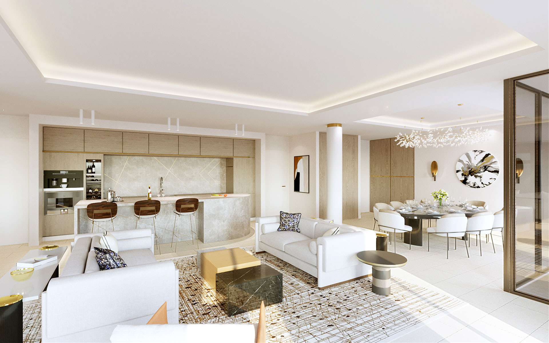 3D Perspective of a villa interior - Luxury project
