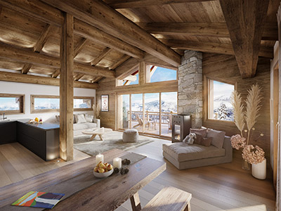 3D computer graphics of an apartment in a mountain chalet