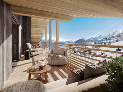 3D computer generated image of a terrace with a view on the mountain