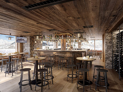 3D creation of the interior of a rustic mountain bar