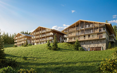 3D visualization of several collective chalets in the mountains in summer