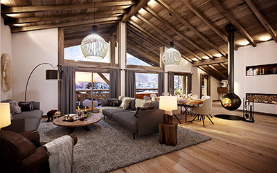 3D representation of the interior of a mountain chalet at the end of the day