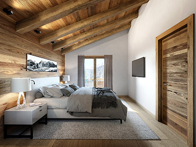 3D perspective of a master suite in a chalet in Courchevel