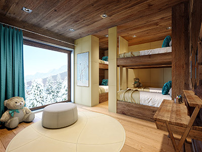 3D computer graphics of a child's room in a mountain chalet