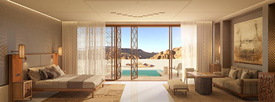 3D visualization of a luxury room and its pool in Morocco