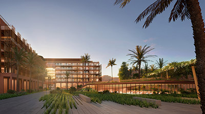 3D rendering of the exterior of a luxury hotel at sunset