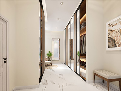3D visualization of a luxurious dressing room in a villa