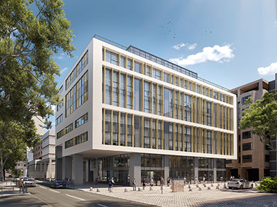 3D exterior view of an office building integrated in the city