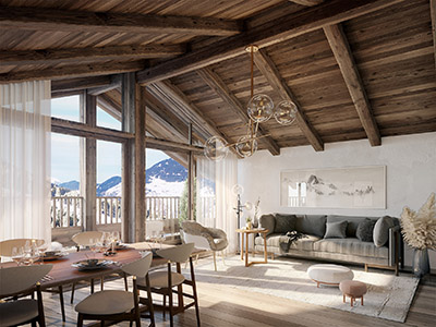3D representation of the interior of a penthouse in Megève